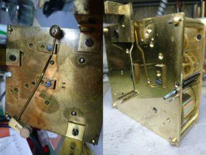 Механизм настенных часов до и после ремонта